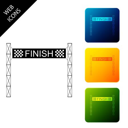 Ribbon in finishing line icon isolated. Symbol of finish line. Sport symbol or business concept. Set icons colorful square buttons. Vector Illustration 일러스트