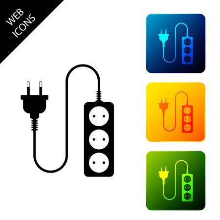 Electric extension cord icon isolated. Power plug socket. Set icons colorful square buttons. Vector Illustration Ilustração
