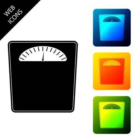 Bathroom scales icon isolated. Weight measure Equipment. Weight Scale fitness sport concept. Set icons colorful square buttons. Vector Illustration