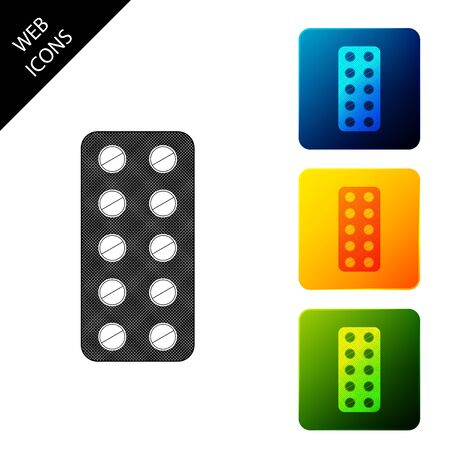 Pills in blister pack icon isolated. Medical drug package for tablet: vitamin, antibiotic, aspirin. Set icons colorful square buttons. Vector Illustration