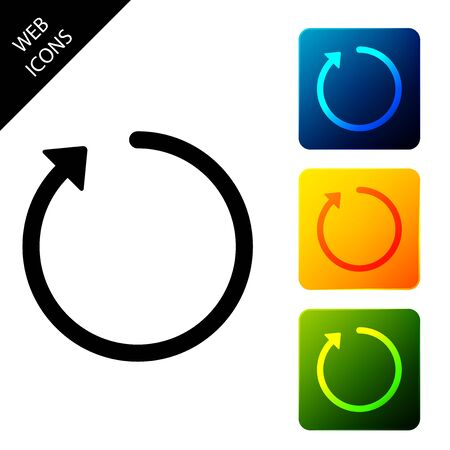 Refresh icon isolated. Set icons colorful square buttons. Vector Illustration