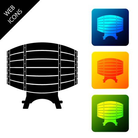 Wooden barrel on rack icon isolated. Set icons colorful square buttons. Vector Illustration