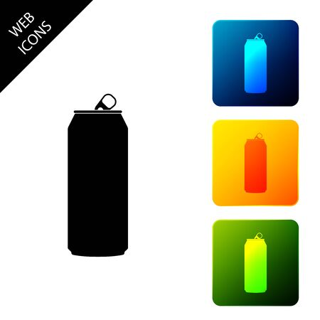 Aluminum can icon isolated. Set icons colorful square buttons. Vector Illustration