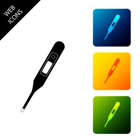 Medical digital thermometer for medical examination icon isolated. Set icons colorful square buttons. Vector Illustration