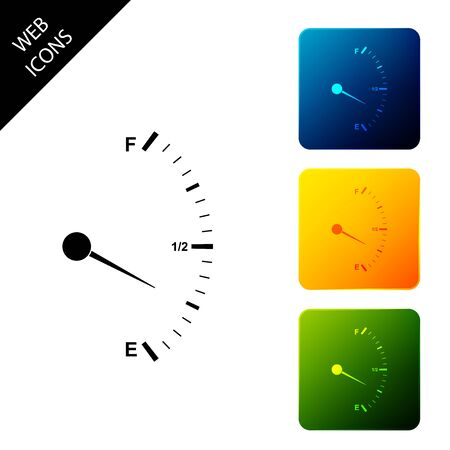 Motor gas gauge icon isolated. Empty fuel meter. Full tank indication. Set icons colorful square buttons. Vector Illustration Foto de archivo - 129304640