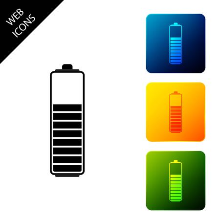 Battery charge level indicator icon isolated. Set icons colorful square buttons. Vector Illustration