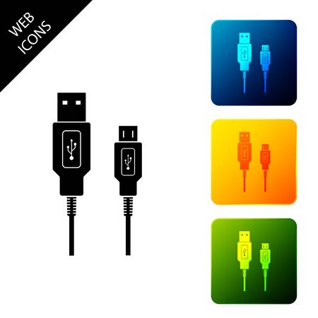 USB Micro cables icon isolated. Connectors and sockets for PC and mobile devices. Computer peripherals connector or smartphone recharge supply. Set icons colorful square buttons. Vector Illustration Stock Illustratie