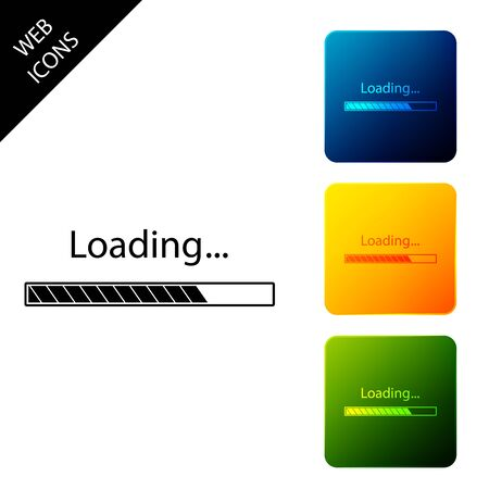 Loading icon isolated. Progress bar icon. Set icons colorful square buttons. Vector Illustration
