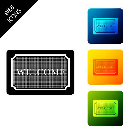 Doormat with the text Welcome icon isolated. Welcome mat sign. Set icons colorful square buttons. Vector Illustration