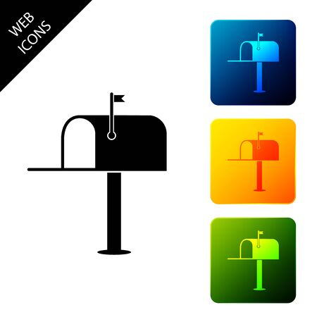 Open mail box icon isolated. Mailbox icon. Mail postbox on pole with flag. Set icons colorful square buttons. Vector Illustration Ilustrace