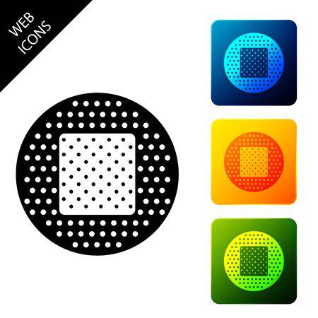 Bandage plaster icon isolated. Medical plaster, adhesive bandage, flexible fabric bandage. Set icons colorful square buttons. Vector Illustration Ilustrace