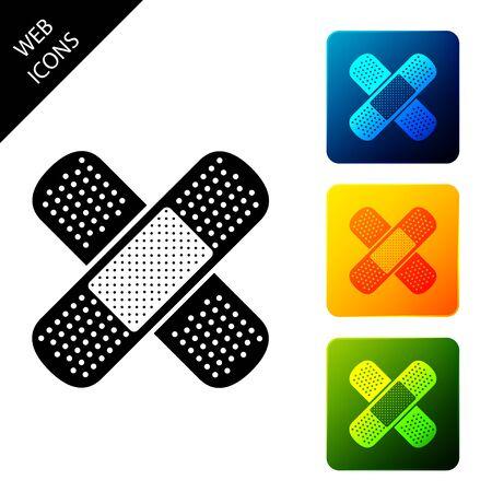 Set Bandage plaster icon isolated. Medical plaster, adhesive bandage, flexible fabric bandage. Set icons colorful square buttons. Vector Illustration Ilustrace