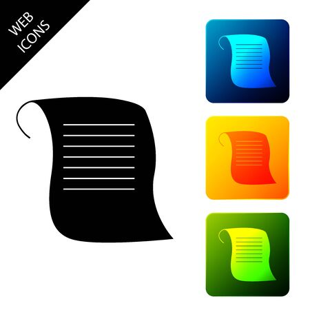 Paper scroll icon isolated. Canvas scroll sign. Set icons colorful square buttons. Vector Illustration Standard-Bild - 129306794