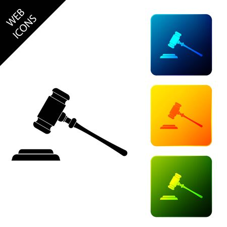 Judge gavel icon isolated. Gavel for adjudication of sentences and bills, court, justice, with a stand. Auction hammer symbol. Set icons colorful square buttons. Vector Illustration