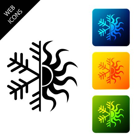 Hot and cold symbol. Sun and snowflake icon isolated. Winter and summer symbol. Set icons colorful square buttons. Vector Illustration