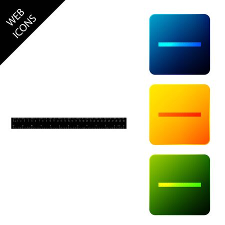 Ruler icon isolated. Straightedge symbol. Set icons colorful square buttons. Vector Illustration