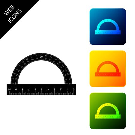 Protractor grid for measuring degrees icon isolated. Tilt angle meter. Measuring tool. Geometric symbol. Set icons colorful square buttons. Vector Illustration