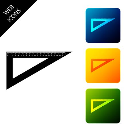 Triangular ruler icon isolated. Straightedge symbol. Geometric symbol. Set icons colorful square buttons. Vector Illustration