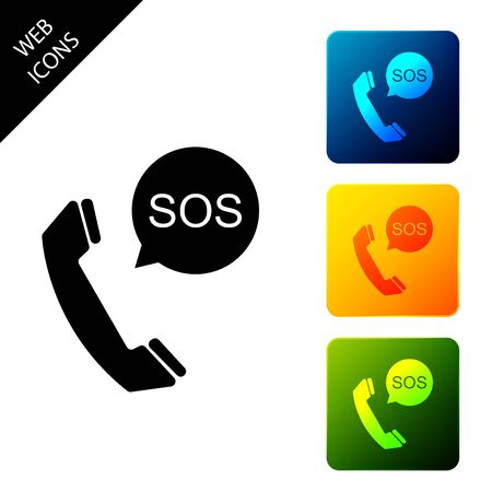 SOS call icon isolated. 911, emergency, help, warning, alarm. Set icons colorful square buttons. Vector Illustration Ilustrace