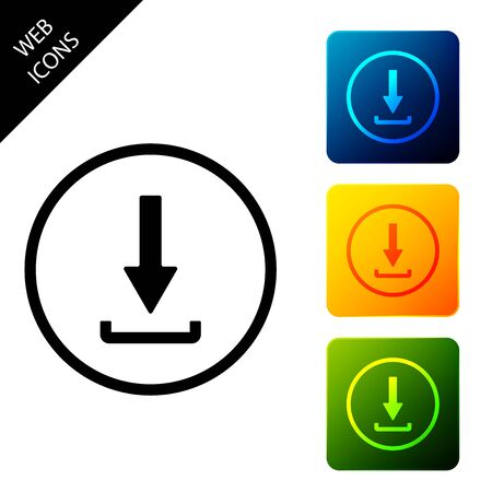 Download icon isolated. Upload button. Load symbol. Arrow point to down. Set icons colorful square buttons. Vector Illustration