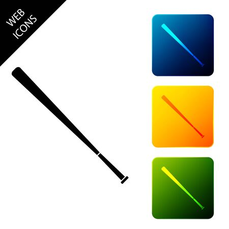 Baseball bat icon isolated. Set icons colorful square buttons. Vector Illustration
