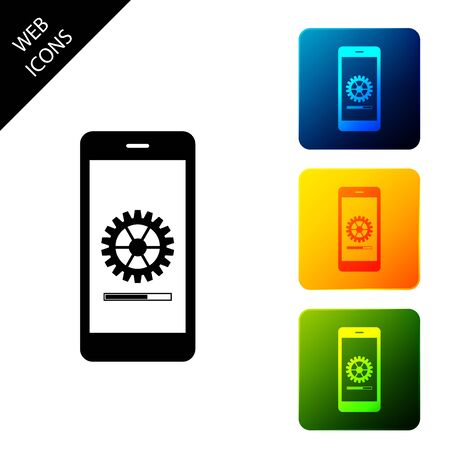 Smartphone update process with gearbox progress and loading bar. System software update and upgrade concept. Loading process in mobile screen. Set icons colorful square buttons. Vector Illustration Ilustrace