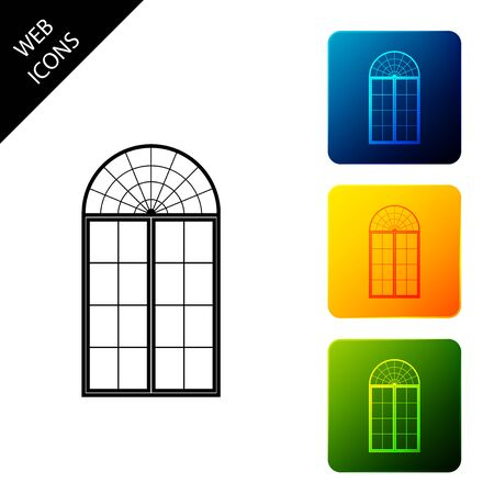 Window icon isolated. Set icons colorful square buttons. Vector Illustration