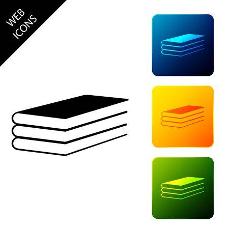 Icona di libri isolata. Impostare icone pulsanti quadrati colorati. illustrazione vettoriale Vettoriali