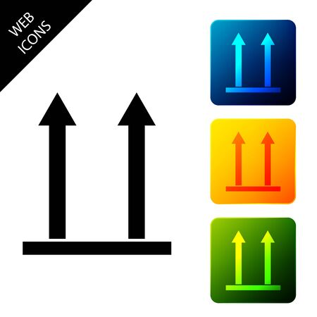 This side up icon isolated. Two arrows indicating top side of packaging. Cargo handled so these arrows always point up. Set icons colorful square buttons. Vector Illustration