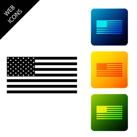 American flag icon isolated. Flag of USA. Set icons colorful square buttons. Vector Illustration