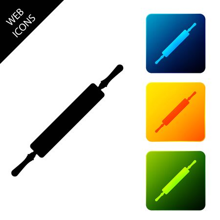 Rolling pin icon isolated. Set icons colorful square buttons. Vector Illustration