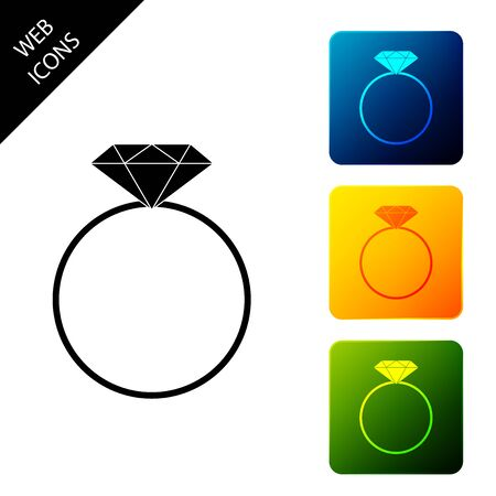 Diamond engagement ring icon isolated. Set icons colorful square buttons. Vector Illustration Standard-Bild - 129305147