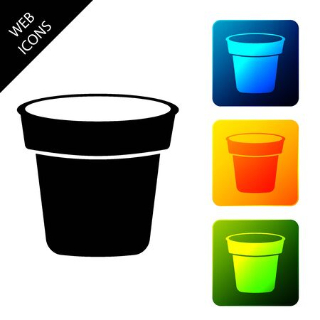 Flower pot icon isolated. Set icons colorful square buttons. Vector Illustration