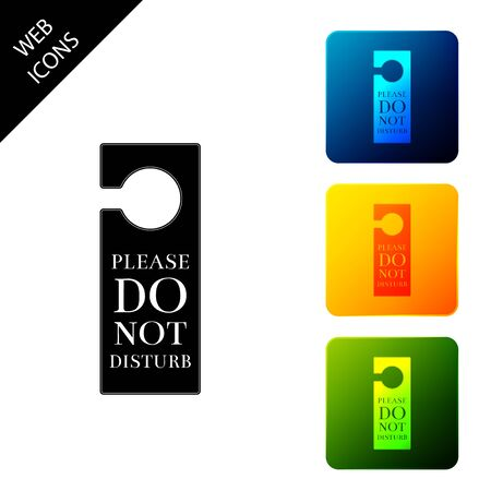 Please do not disturb icon isolated. Hotel Door Hanger Tags. Set icons colorful square buttons. Vector Illustration