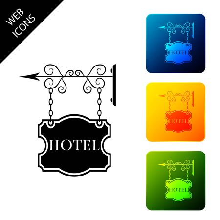 Vintage signboard outdoor advertising with text Hotel icon isolated. Set icons colorful square buttons. Vector Illustration Ilustração