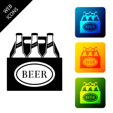 Pack of beer bottles icon isolated. Case crate beer box sign. Set icons colorful square buttons. Vector Illustration