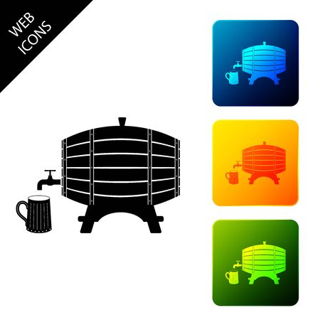 Wooden barrel on rack with stopcock and wooden beer mug icon isolated. Set icons colorful square buttons. Vector Illustration