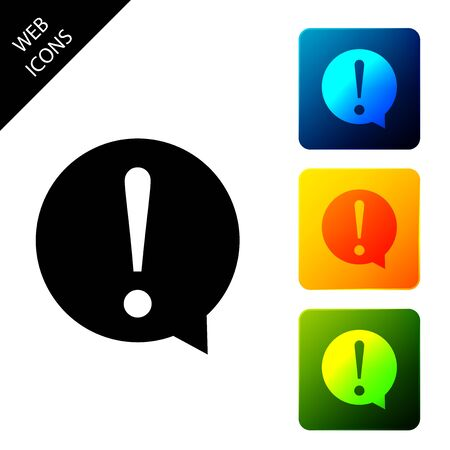 Exclamation mark in circle icon isolated. Hazard warning symbol. FAQ sign. Copy files, chat speech bubble and chart web icons. Set icons colorful square buttons. Vector Illustration Ilustração