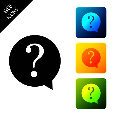 Question mark in circle icon isolated. Hazard warning symbol. FAQ sign. Copy files, chat speech bubble and chart web icons. Set icons colorful square buttons. Vector Illustration Stock Illustratie