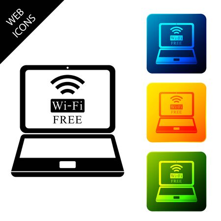 Laptop and free wi-fi wireless connection icon isolated. Wireless technology, wi-fi connection, wireless network, hotspot concepts. Set icons colorful square buttons. Vector Illustration