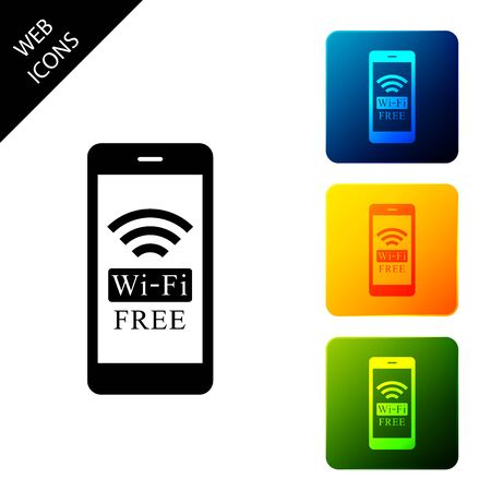 Smartphone with free wi-fi wireless connection icon isolated. Wireless technology, wi-fi connection, wireless network, hotspot concept. Set icons colorful square buttons. Vector Illustration