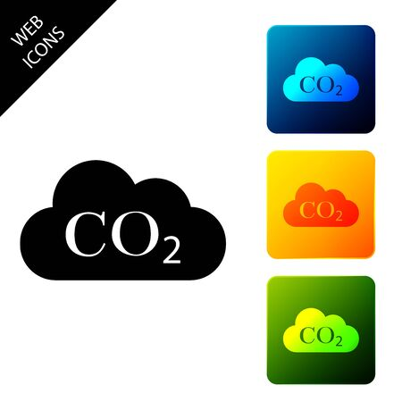 CO2 emissions in cloud icon isolated. Carbon dioxide formula symbol, smog pollution concept, environment concept, combustion products. Set icons colorful square buttons. Vector Illustration Ilustração
