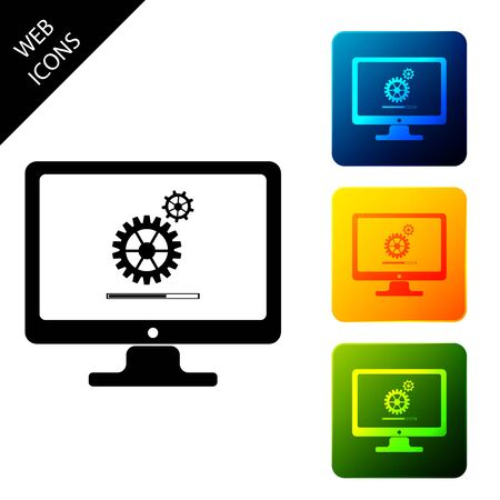 Computer monitor update process with gear progress and loading bar icon. System software update. Adjusting app, setting options, maintenance, repair. Set colorful square buttons. Vector Illustration Иллюстрация