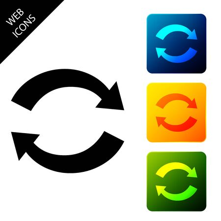 Refresh icon isolated. Reload symbol. Rotation arrows in a circle sign. Set icons colorful square buttons. Vector Illustration