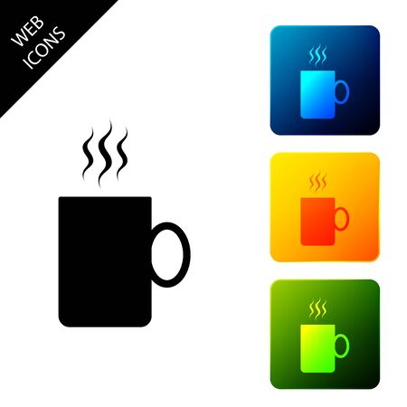 Coffee cup flat icon isolated. Tea cup. Hot drink coffee. Set icons colorful square buttons. Vector Illustration