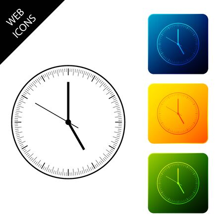 Clock icon isolated. Time icon. Set icons colorful square buttons. Vector Illustration