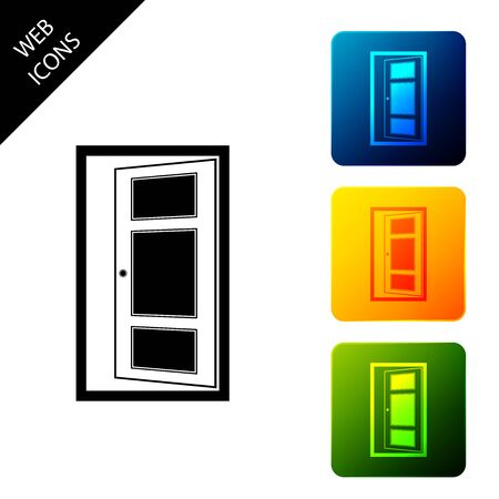 Open door icon isolated. Set icons colorful square buttons. Vector Illustration
