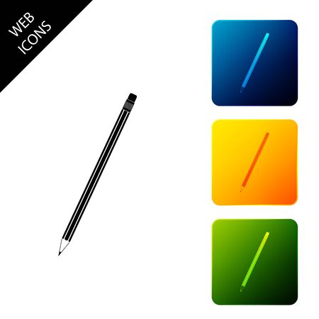 Pencil with eraser icon isolated. Education sign. Drawing and educational tools. School office symbol. Set icons colorful square buttons. Vector Illustration