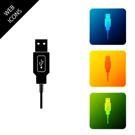 USB cable cord icon isolated. Connectors and sockets for PC and mobile devices. Computer peripherals connector or smartphone recharge supply. Set icons colorful square buttons. Vector Illustration Stock Illustratie