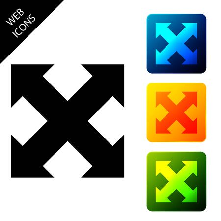 Arrows in four directions icon isolated. Set icons colorful square buttons. Vector Illustration